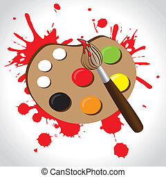 paint palette over brown background vector illustration