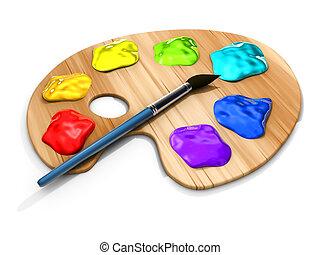 Paint pallete - Spots of paint and brush on paint palette -...
