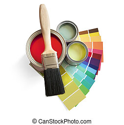 coloured swatches and paint pot and paintbrush on white background