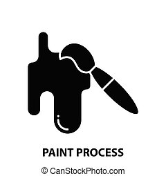 paint process icon, black vector sign with editable strokes, concept illustration