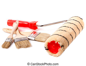 paint roller and brushes on the white background