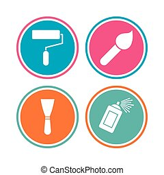 Paint roller, brush icon. Spray can and Spatula.