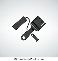 Paint roller, brush icons. Wall repair tool and painting symbol.