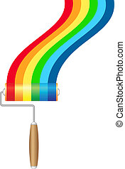 Paint roller brush with rainbow