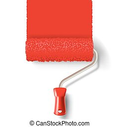 Paint roller brush with red paint track
