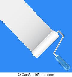 Paint roller brush with white, vector illustration
