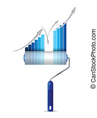 paint roller business graph illustration design