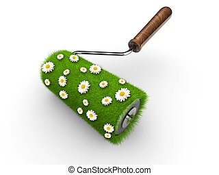 Paint roller covered with grass and daisy flowers