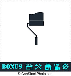 Paint roller icon flat