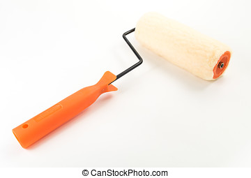 Paint roller in white isolated