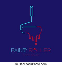 Paint roller logo icon outline stroke set dash line design illustration isolated on dark blue background with Paint roller text and copy space, vector eps 10