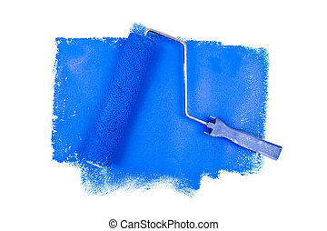 Paint roller on blue traces against a white background