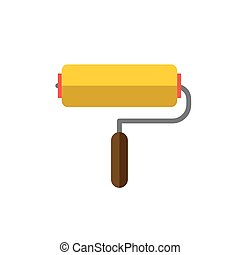 paint roller on white background flat