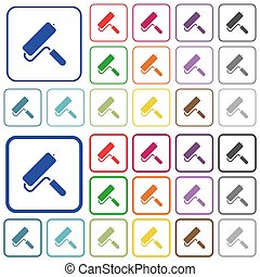 Paint roller outlined flat color icons