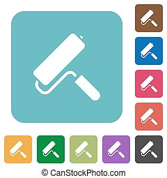 Paint roller rounded square flat icons