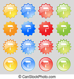 Paint roller sign icon. Painting tool symbol. Big set of 16 colorful modern buttons for your design.
