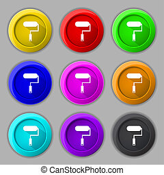 Paint roller sign icon. Painting tool symbol. Set of colored buttons.