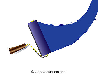 Blue paint swoosh or splat with roller with handle and shadow