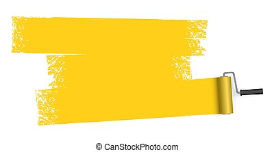 isolated on white background paint roller with painted marking colored yellow