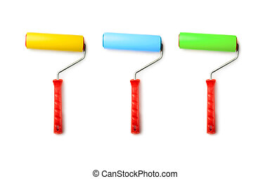 Paint rollers isolated on white