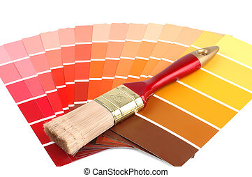 Paint Samples - Multi colored paint samples and a paint...