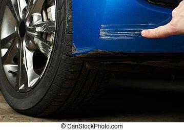 Paint scratch on car