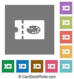 Paint shop discount coupon square flat icons - Paint shop...