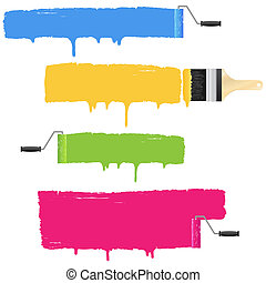 Colorful paint roller and brush smear banners.