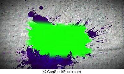 Paint spatter revealing chroma key spaces on moving...