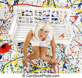 Paint Splash - Beautiful young woman with white hair in ...