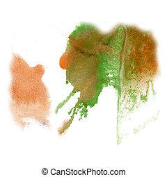 paint splash color brown green ink blue red watercolor isolated stroke splatter watercolour aquarel brush