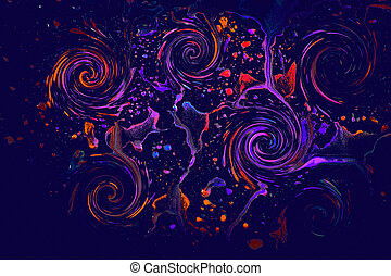 Paint splash effect on a glass on black background