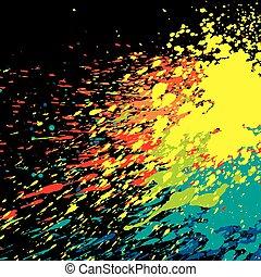 paint splash on black background vector illustration