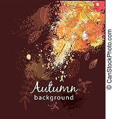 Paint splashes and autumnal leaves