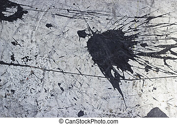 Paint Splat Background - White concrete with a black paint...