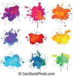 Paint splat - colorful paint splats collection set