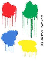 Paint Splats - Red, Green, Blue and Yellow Paint Splats