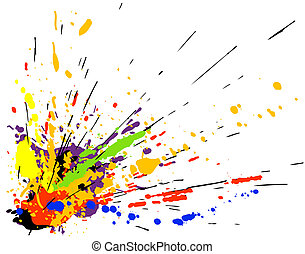 Colorful design of paint spill grunge
