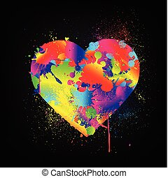 Paint Splatter Heart on black card. Vector