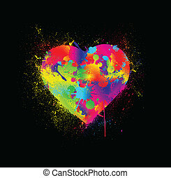 Paint splatter heart. Vector illustration
