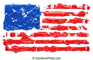 Paint splatter in the shape of American flag
