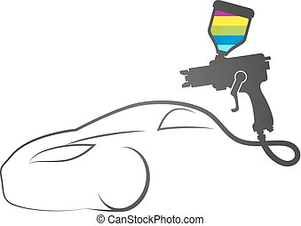 Paint spray gun auto design symbol