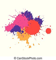 Paint stain of different colors, texture of paint spots