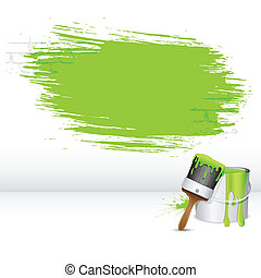 Paint Stroke - illustration of paint bucket with paint brush...