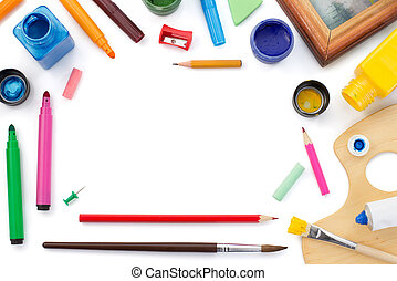paint supplies isolated on white