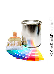 paint supplies - paint swatches can and brush