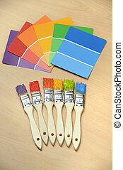 Paint Swatches and Paintbrushes