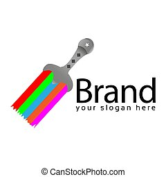Paint Sword logo. Vector Illustration on white background