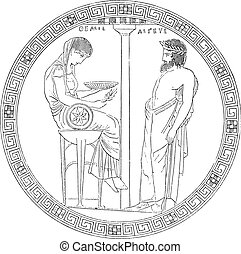 Paint the bottom of cutting Vulci. Pythia on trepeid, vintage engraved illustration. Magasin Pittoresque (1882).