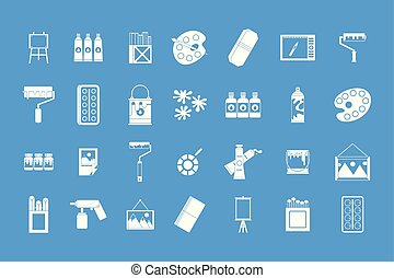 Paint tools icon blue set vector
